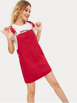 Preppy Pinafore Letter Straps Sleeveless High Waist Red Short Length Letter Print Pocket Detail Pinafore Dress
