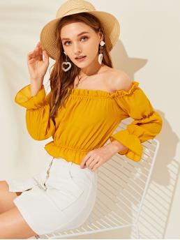 Boho Plain Top Regular Fit Off the Shoulder Long Sleeve Pullovers Yellow Crop Length Off The Shoulder Solid Flounce Trim Blouse