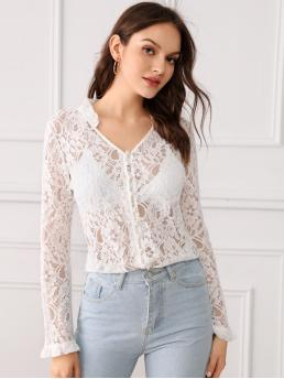 Romantic Shirt Regular Fit Stand Collar Long Sleeve Placket White Regular Length Pearls Button Front Sheer Lace Overlay Top Without Bra