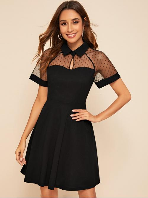 Black Polka Dot Button Peter Pan Collar Dobby Mesh Yoke Cut-out Skater Dress Trending now