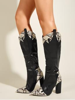 Trending now Black Western Boots High Heel Chunky Snakeskin Heeled Boots