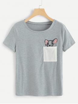Casual Animal Regular Fit Round Neck Short Sleeve Pullovers Grey Regular Length Cut And Sew Panel Dog Print Tee