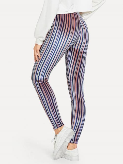 Multicolor Natural Waist Tape Regular Velvet Leggings Sale