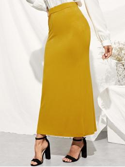 Casual Straight Plain High Waist Yellow Long/Full Length Elastic Waist Longline Jersey Skirt