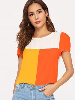 Casual Colorblock Top Regular Fit Round Neck Short Sleeve Regular Sleeve Pullovers Multicolor Regular Length Neon Color-block Top
