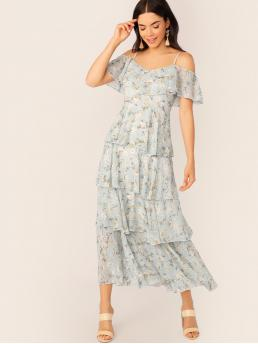 Boho Ditsy Floral Layered/Tiered Loose Spaghetti Strap High Waist Blue and Pastel Long Length Ditsy Floral Print Cold Shoulder Layered Ruffle Dress