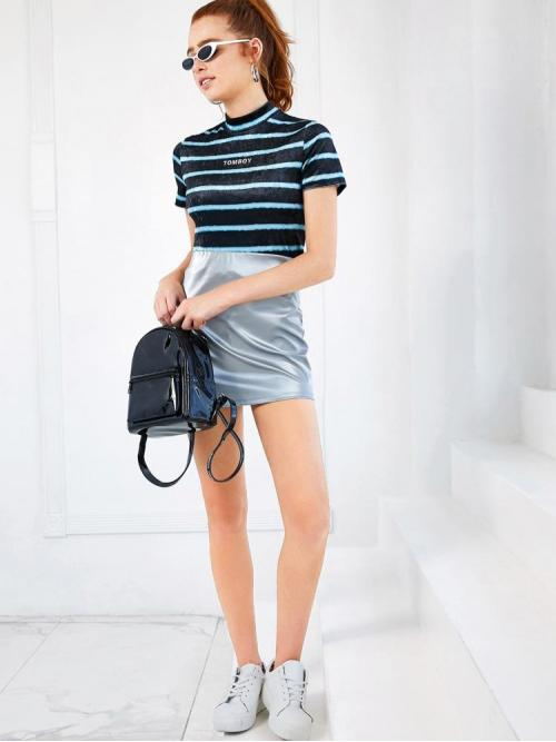Clearance Short Sleeve a Line Sheer Velvet Mock Neck Graphic Striped Top