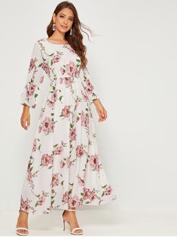 Elegant A Line Floral Flared Square Neck Long Sleeve High Waist White Maxi Length Floral Pleated Sleeve Dress with Lining