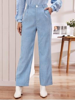 Casual Plain Straight Leg Loose Button Fly and Zipper Fly Mid Waist Blue and Pastel Long Length Pleated Detail Slant Pocket Cord Pants