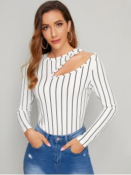 Elegant Striped Slim Fit Round Neck Long Sleeve Regular Sleeve Pullovers White Regular Length Cutout Detail Striped Fitted Top