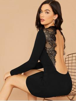 Sexy Bodycon Plain Pencil Slim Fit Round Neck Long Sleeve Regular Sleeve Natural Black Mini Length Lace Insert Backless Bodycon Dress