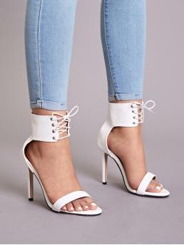 Glamorous Open Toe Ankle cuff White Stiletto Lace-up Front Stiletto Heels
