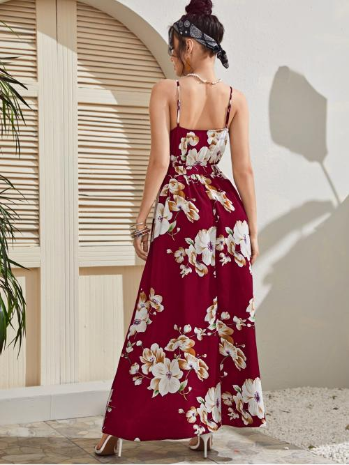 Burgundy Floral Belted Spaghetti Strap High Low Dress on Sale