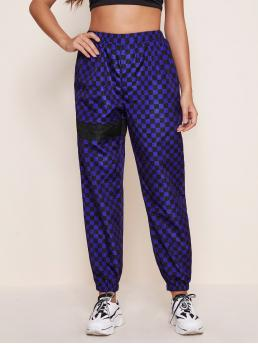 Multicolor High Waist Plaid Regular Fit Solid Panel Checked Wind Pants Beautiful