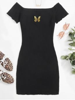 Black Animal Rib-knit off the Shoulder Butterfly Embroidered Lettuce Edge Dress Sale