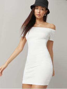 Discount White Plain off the Shoulder Short Fitted Dress
