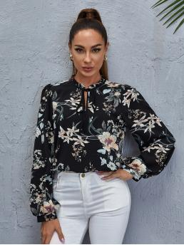 Casual Top Floral Regular Fit Tie Neck Long Sleeve Puff Sleeve Pullovers Multicolor Regular Length Floral Print Frill Tie Neck Blouse