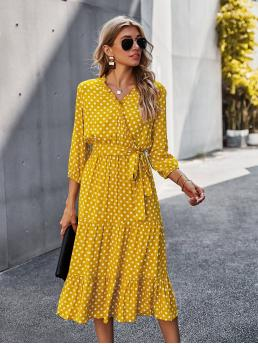Womens Yellow Polka Dot Belted V Neck Frill Wrap Dress