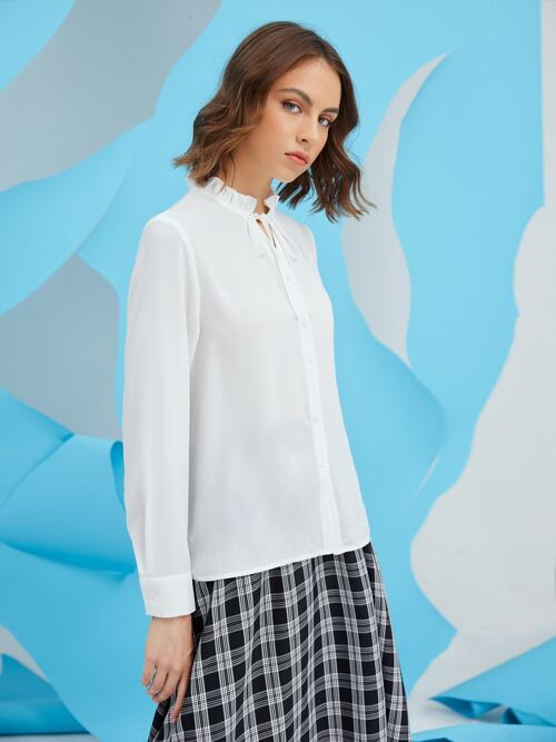 Long Sleeve Shirt Button Front Polyester Ruffle Button up Blouse on Sale