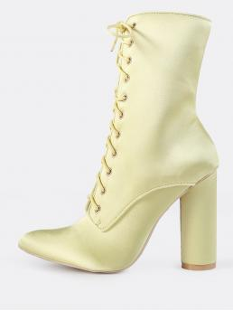 Elegant Lace-up Boots Point Toe No zipper Yellow High Heel Chunky Satin Lace Up Booties YELLOW