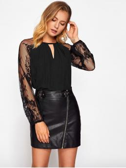 Elegant Plain Top Regular Fit Round Neck Long Sleeve Raglan Sleeve Black Lace Mesh Sleeve V Cut Pleated Top