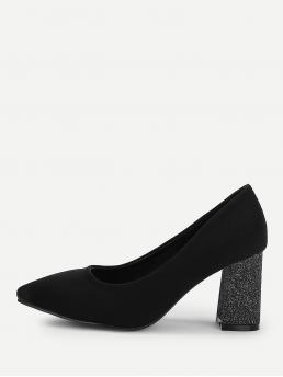 Cotton Black Skate Shoes Knot Pointed Toe Block Heeled Pumps on Sale
