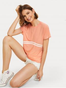 Casual Striped Regular Fit Round Neck Short Sleeve Pullovers Orange and Pastel Regular Length Striped Panel Tee