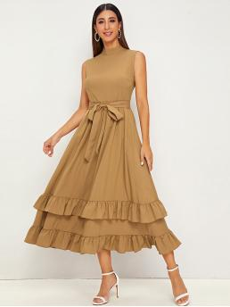 Casual A Line Plain Flounce Regular Fit Stand Collar Sleeveless High Waist Camel and Pastel Long Length Mock Ruffle Trim Belted Sleeveless Dress with Belt