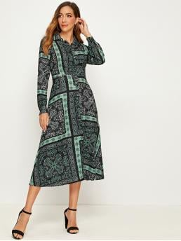 Casual Shirt Tribal Flared Regular Fit Collar Long Sleeve Regular Sleeve High Waist Multicolor Long Length Paisley Print Button Through Shirt Dress