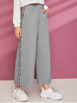 Casual Leopard Wide Leg Loose High Waist Grey Cropped Length Leopard Print Tape Wide leg Pants