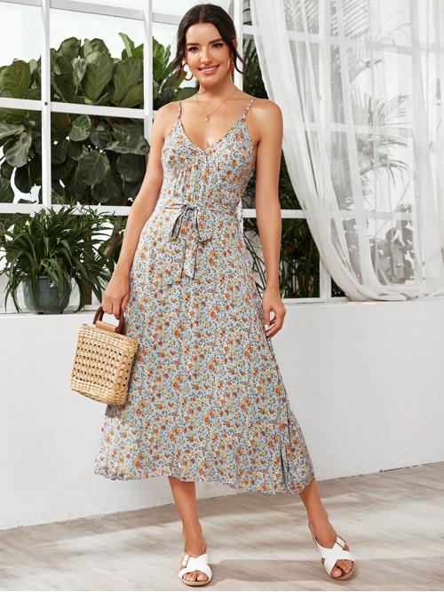 Boho Cami Ditsy Floral Flared Regular Fit Spaghetti Strap Sleeveless High Waist Multicolor Long Length Allover Floral Print Tie Waist Cami Dress with Belt