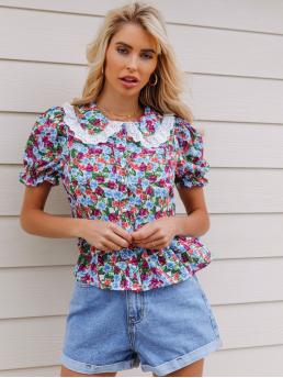 Short Sleeve Peplum Eyelet Embroidery Polyester Eyelet Embroidered Floral Top Beautiful