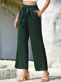 Affordable Dark Green High Waist Paper Bag Waist Wide Leg Tie Front Pants