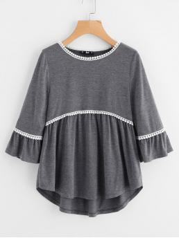 Cute Three Quarter Length Sleeve Flounce Sleeve Grey Crochet Trim Curved Dip Hem Smock Top