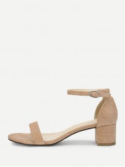 Ankle Strap Open Toe Plain Ankle Strap Apricot Mid Heel Chunky Ankle Strap Two Part Block-Heel Sandals