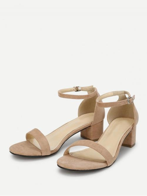 Ladies Corduroy Apricot Strappy Sandals Feather Ankle Two Part Block-heel Sandals