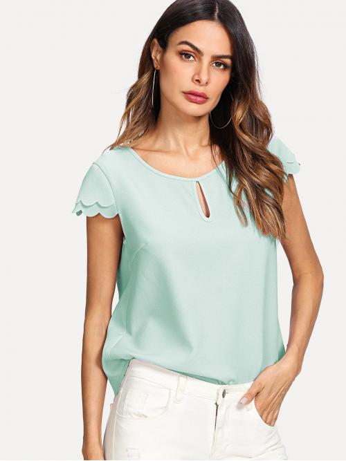 Women's Cap Sleeve Top Tiered Layer Polyester Keyhole Front Layered Scalloped Sleeve Top
