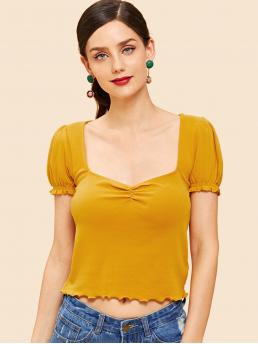 Short Sleeve Slip on Frill Polyester Ruched Detail Lettuce Trim Top Cheap