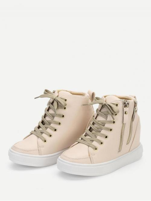 Clearance Corduroy Apricot Mules Zipper Side Wedges