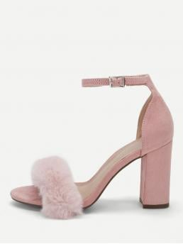 Ankle Strap Open Toe Plain Ankle Strap Pink High Heel Chunky Faux Fur Single Band Ankle Strap Heels