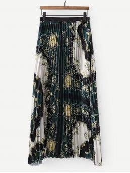 Multicolor Natural Waist Pleated Pleated Skirt Affordable