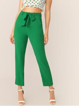 Elegant Straight Leg Plain Regular Zipper Fly High Waist Green Long Length Waist Tie Side Pockets Straight Leg Pants with Belt