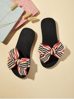 Comfort Slippers Open Toe Striped Multicolor Striped Bow Tie Decor Flat Sliders