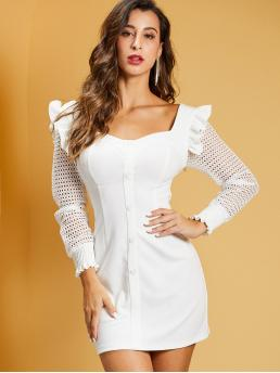 Elegant Fitted Plain Straight Regular Fit Sweetheart Long Sleeve Regular Sleeve Natural White Short Length SBetro Shirred Panel Guipure Lace Sleeve Ruffle Trim Dress
