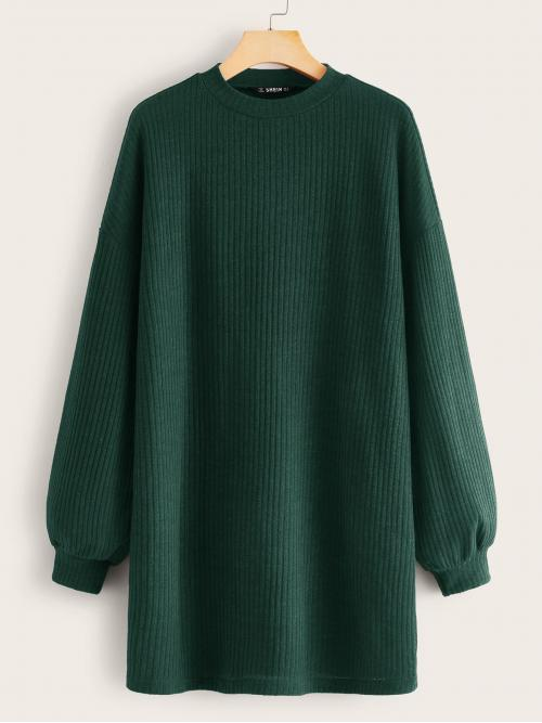 Casual Tee Plain Straight Regular Fit Round Neck Long Sleeve Natural Green Short Length Bishop Sleeve Rib-knit Solid Dress
