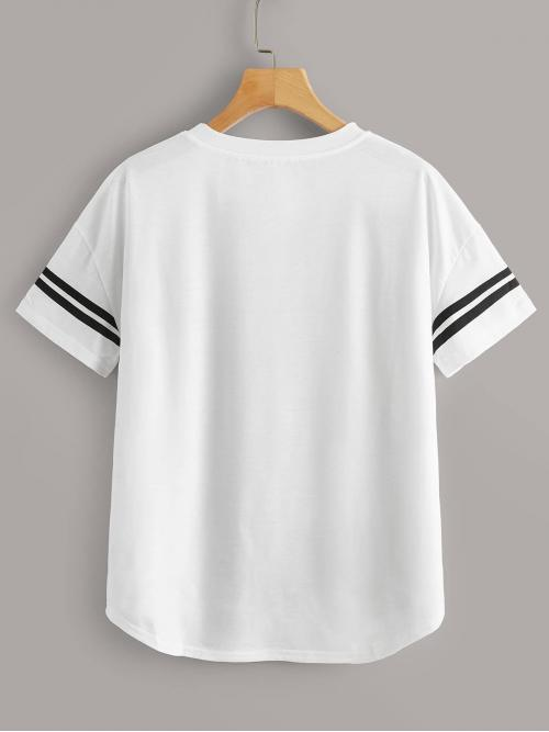 Short Sleeve High Low Polyester Striped Varsity Dip Hem Tee Trending now