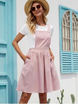 Baby Pink Plain Zipper Square Neck Side Solid Overall Dress Without Top Shopping