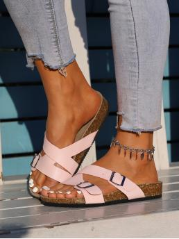 Baby Pink Footbedsandals Buckle Flat Decor Footbed Sandals Clearance