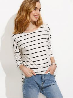 Casual Striped Regular Fit Round Neck Long Sleeve Black and White White Striped Drop Shoulder T-shirt