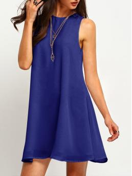 Clearance Blue Plain Tiered Layer Round Neck Buttoned Keyhole Back Flowy Dress